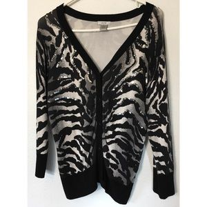 Cache zebra embellished button front cardigan M